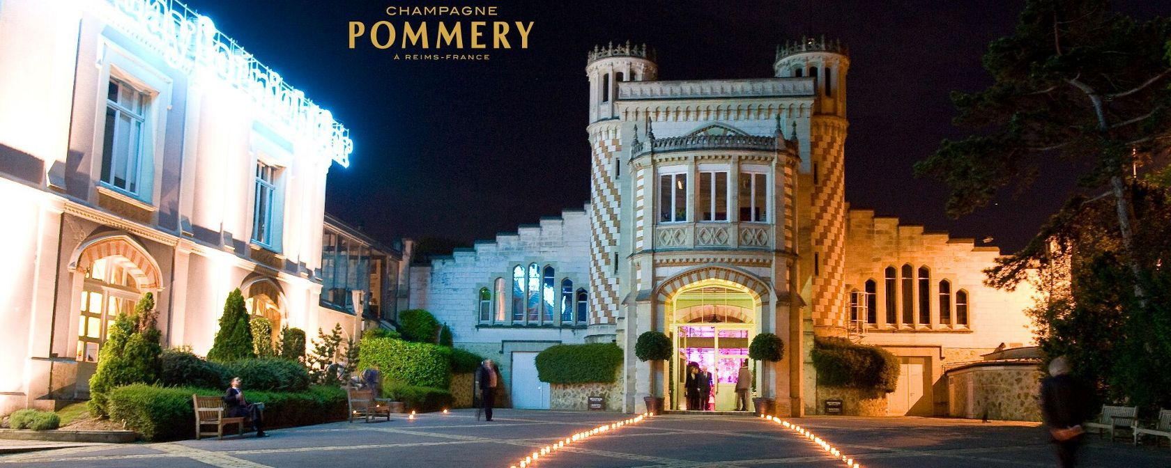 Champagne Pommery Domaine bei Nacht